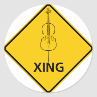Cello Crossing Highway Sign Round Sticker