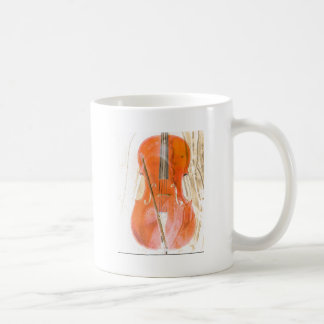 Cello illustration in neutral brown tones coffee mug