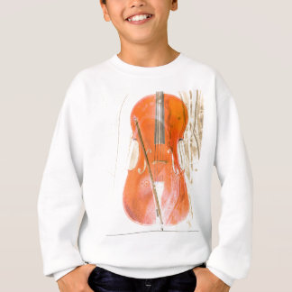 Cello illustration in neutral brown tones sweatshirt