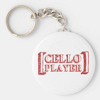 Cello Player Basic Round Button Key Ring