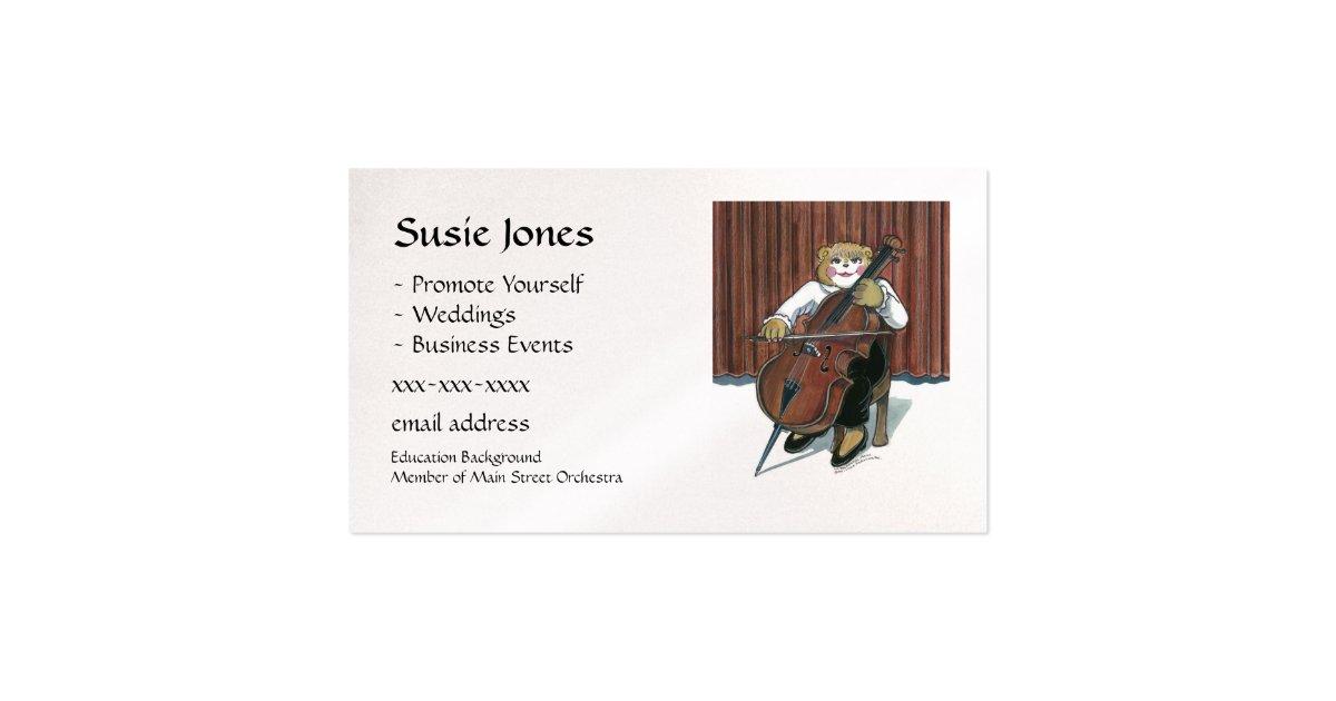cello player business card zazzle