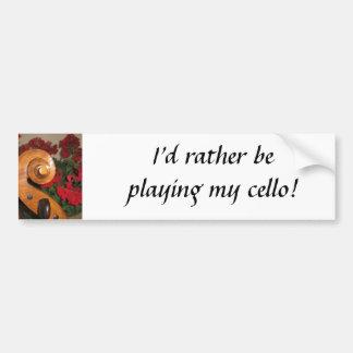 Cello Scroll Flowers bumper sticker