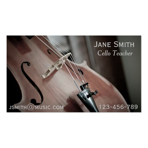 Cello Teacher String instrument music tutor Business Card Template