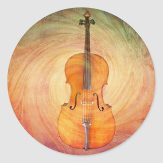 Cello with warm colorful textured background. sticker