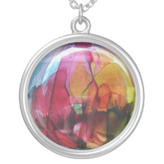 Cellophane Look Large Silver Plated Round Necklace