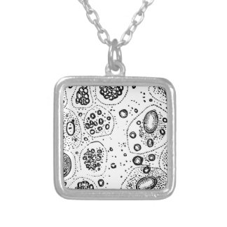 Cellular Design Silver Plated Necklace