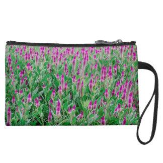Celosia Flower Field Suede Wristlet