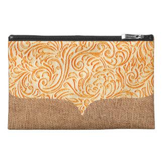 Celosia Orange Scrollwork + Burlap Look Travel Accessory Bags