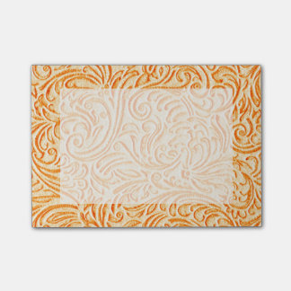 Celosia Orange Vintage Scrollwork Graphic Design Post-it® Notes