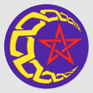 Celt moon star celtic moon star classic round sticker
