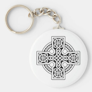 Celtic 4 way black and white basic round button key ring