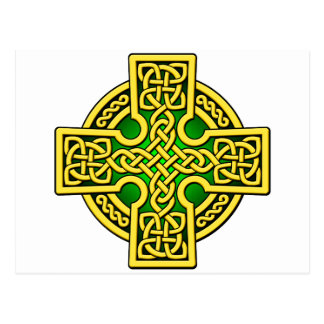 Celtic 4 way gold and green postcard