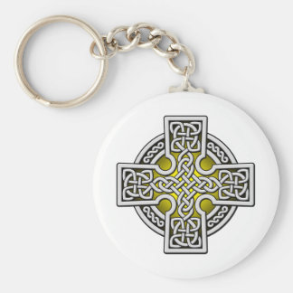 Celtic 4 way silver and gold basic round button key ring
