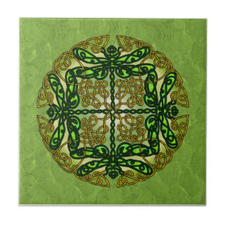 Celtic Art Dragonflies - Green Small Square Tile