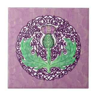 Celtic Art Scottish Thistle - Purple Small Square Tile