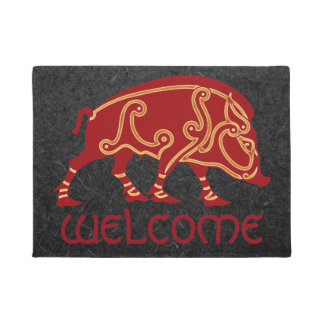 "Celtic Boar Design 18"" x 24"" Door Mat"