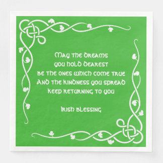 Celtic Braid - White and Green Irish Blessing (#1) Paper Serviettes