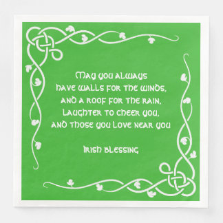 Celtic Braid - White and Green Irish Blessing #3 Disposable Serviettes