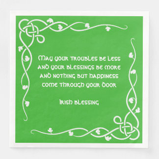 Celtic Braid - White and Green Irish Blessing #4 Disposable Serviettes