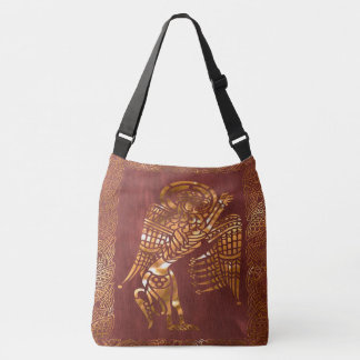 Celtic Brown Leather Tribal Crossbody Bag