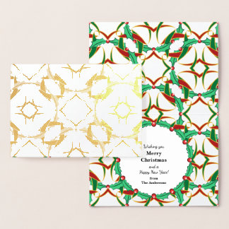 Celtic Christmas Holly Wreath Pattern Personalized Foil Card