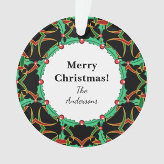 Celtic Christmas Holly Wreath Pattern Personalized Ornament