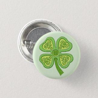 Celtic Clover Green 4-Leaf Lucky Irish Patricks 3 Cm Round Badge