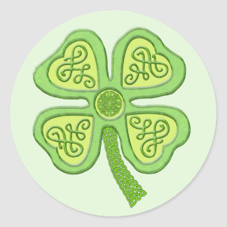 Celtic Clover Green 4-Leaf Lucky Irish Patricks Classic Round Sticker