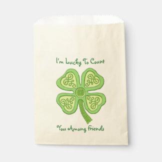 Celtic Clover Green 4-Leaf Lucky Irish Patricks Favour Bag