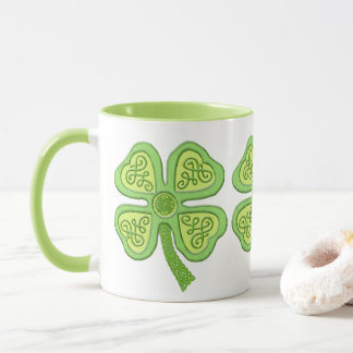 Celtic Clover Green 4-Leaf Lucky Irish Patricks Mug