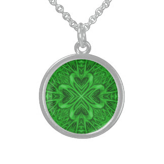 Celtic Clover  Green Sterling Silver Necklace