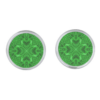 Celtic Clover Kaleidoscope Cufflinks, 4 shapes Silver Finish Cuff Links
