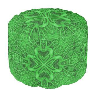 Celtic Clover Kaleidoscope Round Pouf