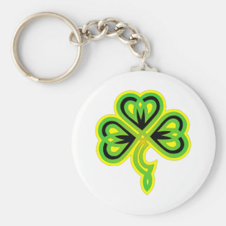 Celtic Clover Basic Round Button Key Ring