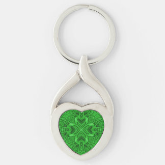 Celtic Clover Metal Keychains, 4 shapes Silver-Colored Twisted Heart Key Ring