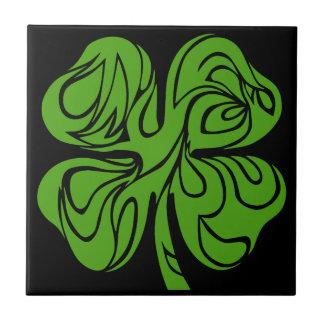 Celtic clover small square tile