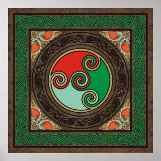 Celtic Color Spirals Poster