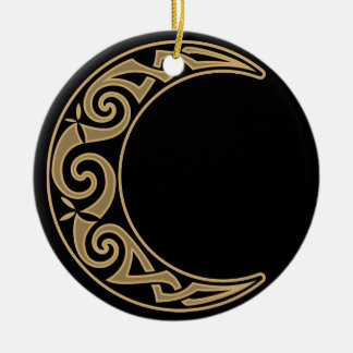 Celtic Crescent Moon Ceramic Ornament