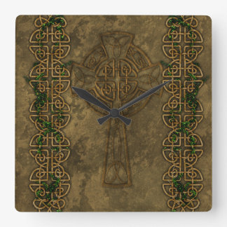 Celtic Cross and Cross Knots Square Wall Clocks