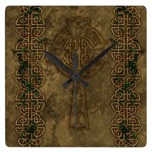 Celtic Cross and Cross Knots Square Wall Clocks