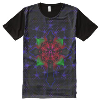 Celtic Cross and Jesus Fish Rose All-Over Print T-Shirt