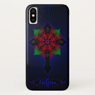 Celtic Cross and Rose iPhone X Case