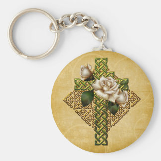Celtic Cross and Roses Key Ring