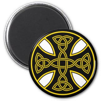Celtic Cross Double Weave Black 6 Cm Round Magnet