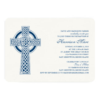 "Celtic Cross First Holy Communion Invitation 5"" X 7"" Invitation Card"