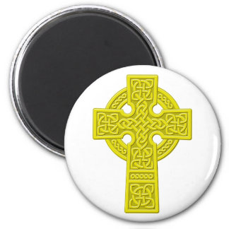 Celtic Cross gold 6 Cm Round Magnet