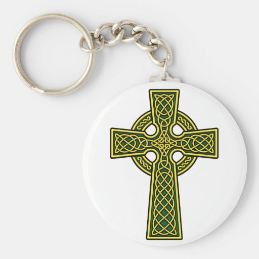 Celtic Cross gold and green Keychains