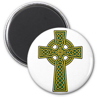 Celtic Cross gold and green Magnets