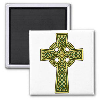 Celtic Cross gold and green Fridge Magnet