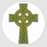 Celtic Cross gold and green Round Stickers